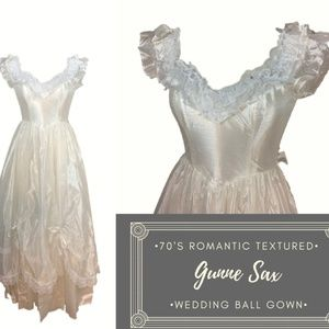 70's VTG Gunne Sax Ivory Wedding Ball Gown VTG sz5